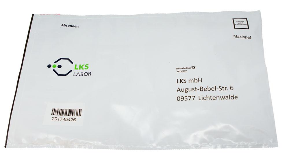 Beispiel eines Haar-Analysekits vom LKS Labor